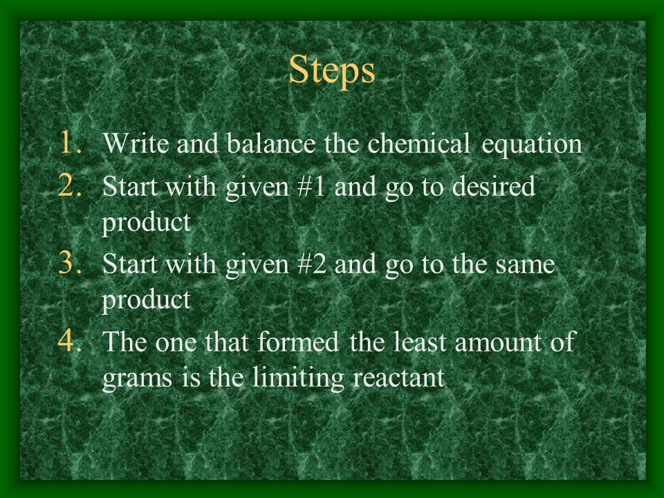 Steps Write and balance the chemical equation