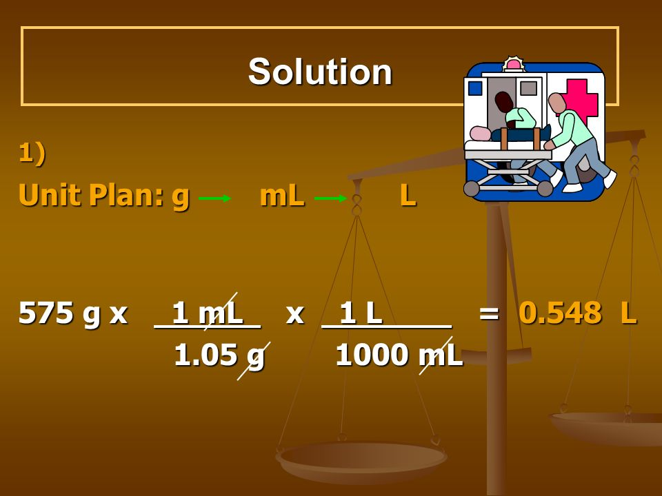 Solution Unit Plan: g mL L 575 g x 1 mL x 1 L = 0.548 L 1.05 g 1000 mL
