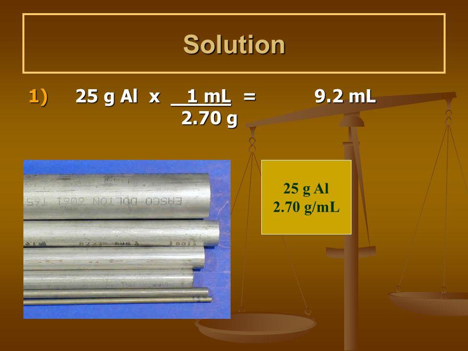 Solution 1) 25 g Al x 1 mL = 9.2 mL 2.70 g 25 g Al 2.70 g/mL