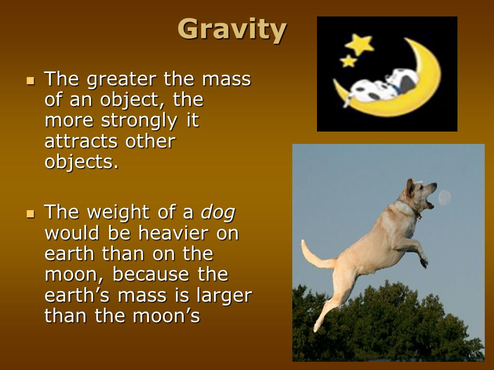 Gravity The greater the mass of an object, the more strongly it attracts other objects.