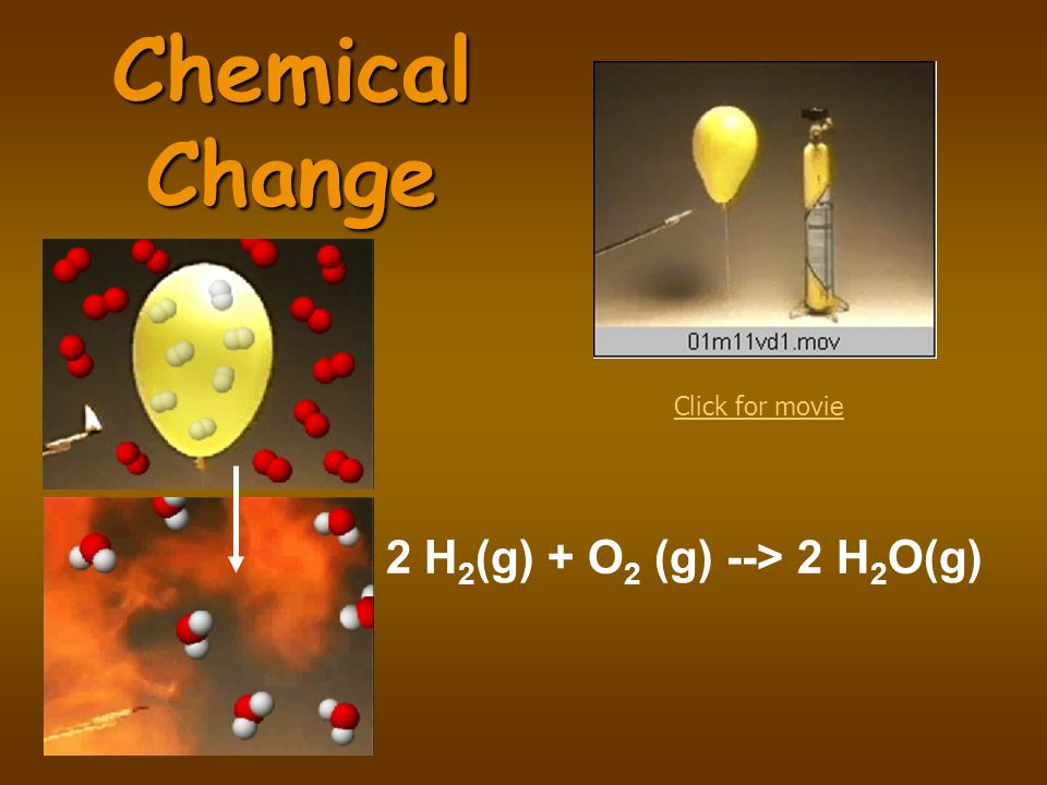 Chemical Change Click for movie 2 H2(g) + O2 (g) --> 2 H2O(g)