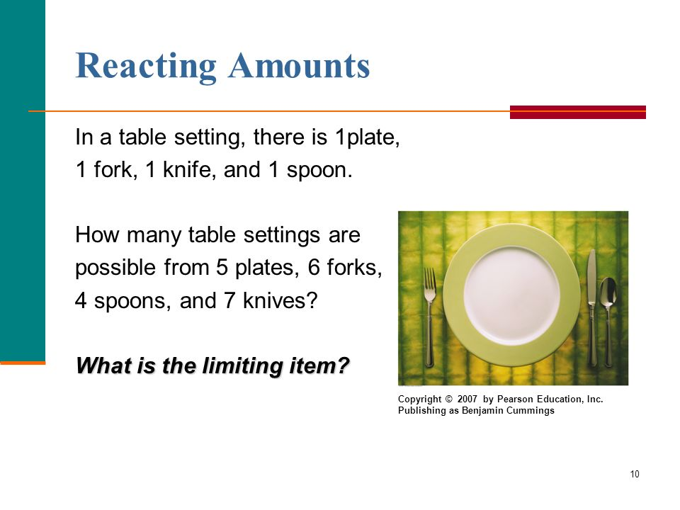Reacting Amounts In a table setting, there is 1plate,
