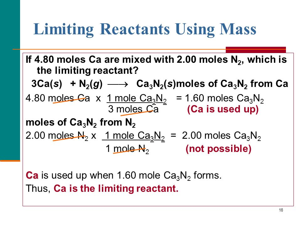 Limiting Reactants Using Mass