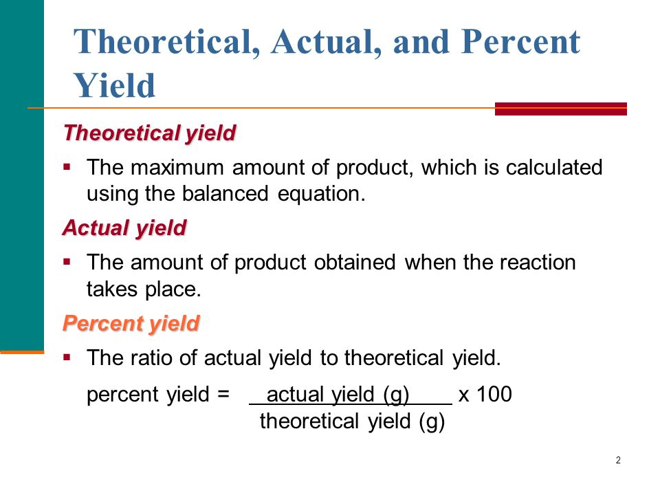 Theoretical, Actual, and Percent Yield