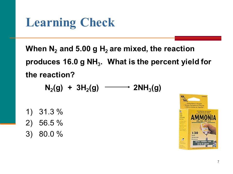 Learning Check When N2 and 5.00 g H2 are mixed, the reaction