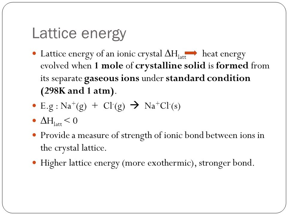 Lattice energy