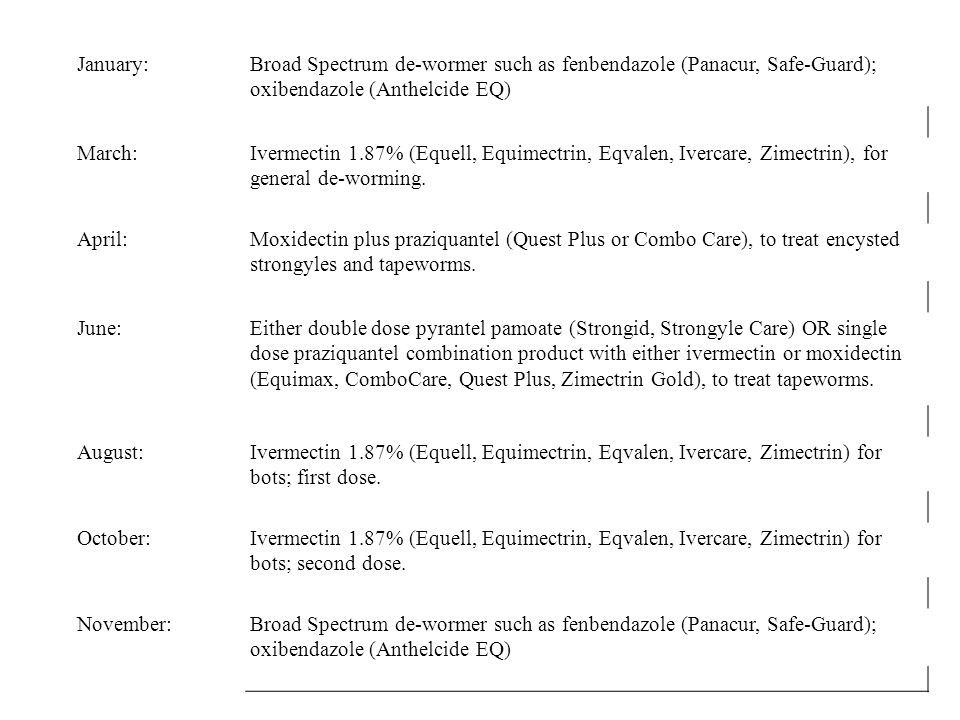 January: Broad Spectrum de-wormer such as fenbendazole (Panacur, Safe-Guard); oxibendazole (Anthelcide EQ)