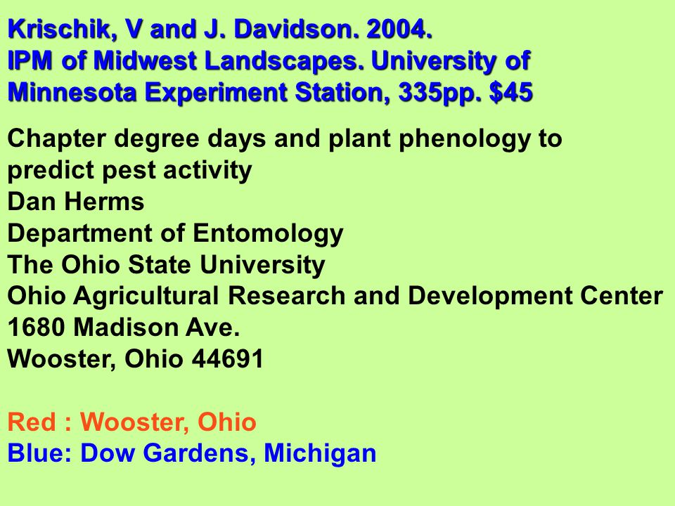 Krischik, V and J. Davidson IPM of Midwest Landscapes
