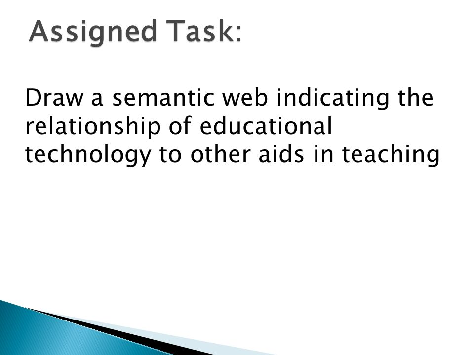 Assigned Task: Draw a semantic web indicating the relationship of educational technology to other aids in teaching.