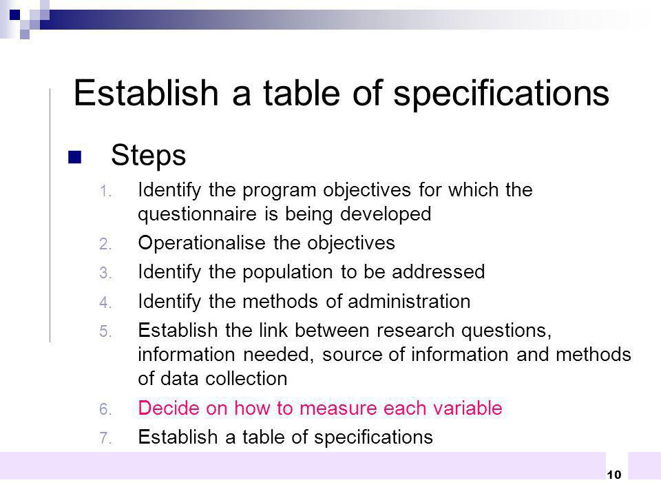 Establish a table of specifications