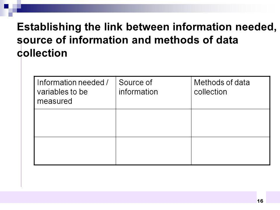 Establishing the link between information needed, source of information and methods of data collection