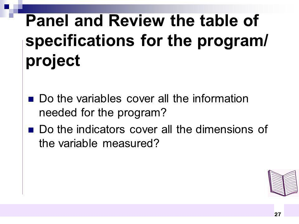 Panel and Review the table of specifications for the program/ project