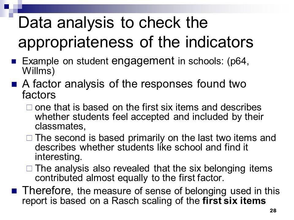 Data analysis to check the appropriateness of the indicators