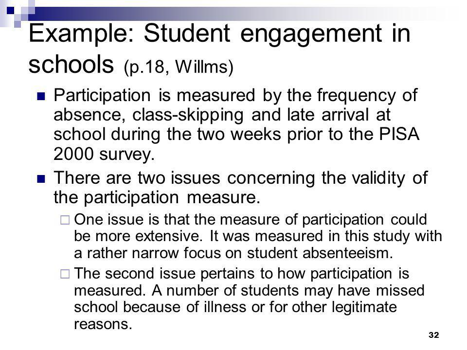 Example: Student engagement in schools (p.18, Willms)