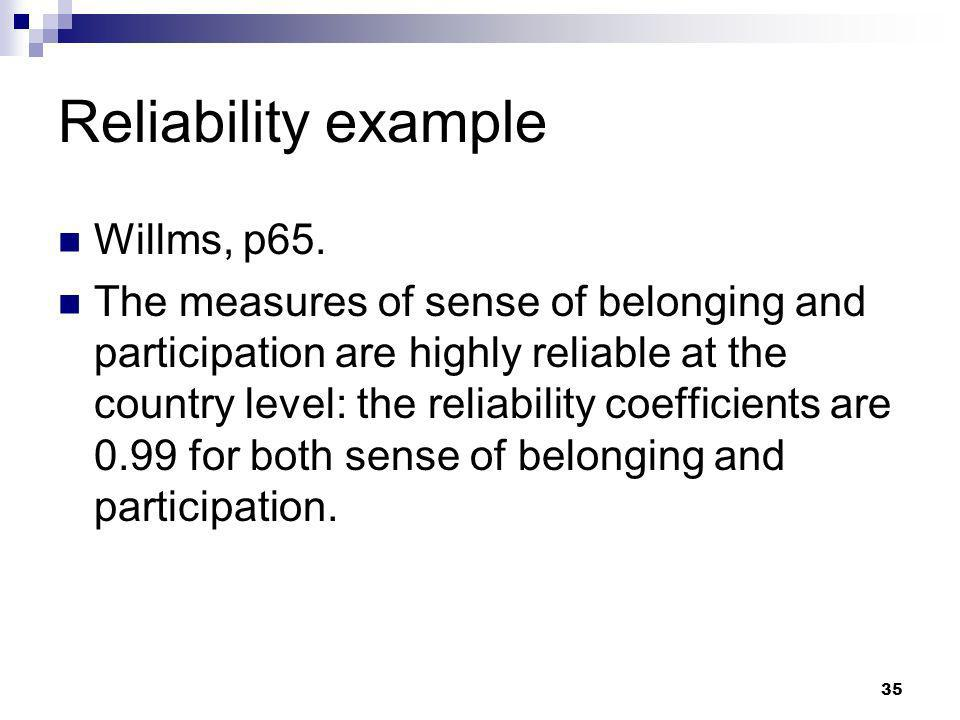 Reliability example Willms, p65.