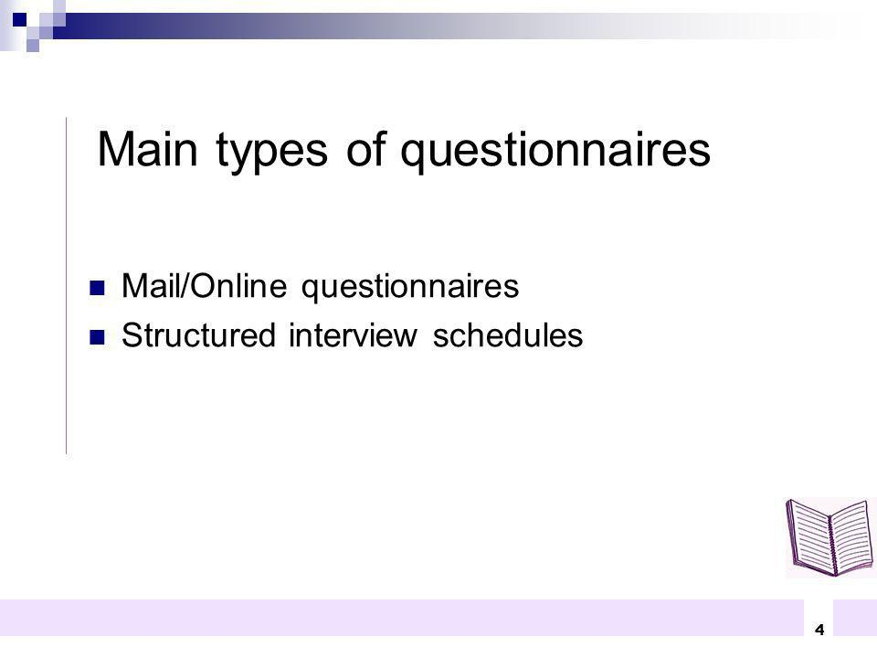 Main types of questionnaires