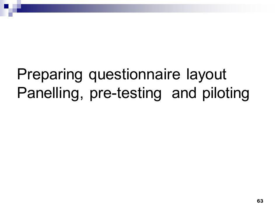 Preparing questionnaire layout Panelling, pre-testing and piloting
