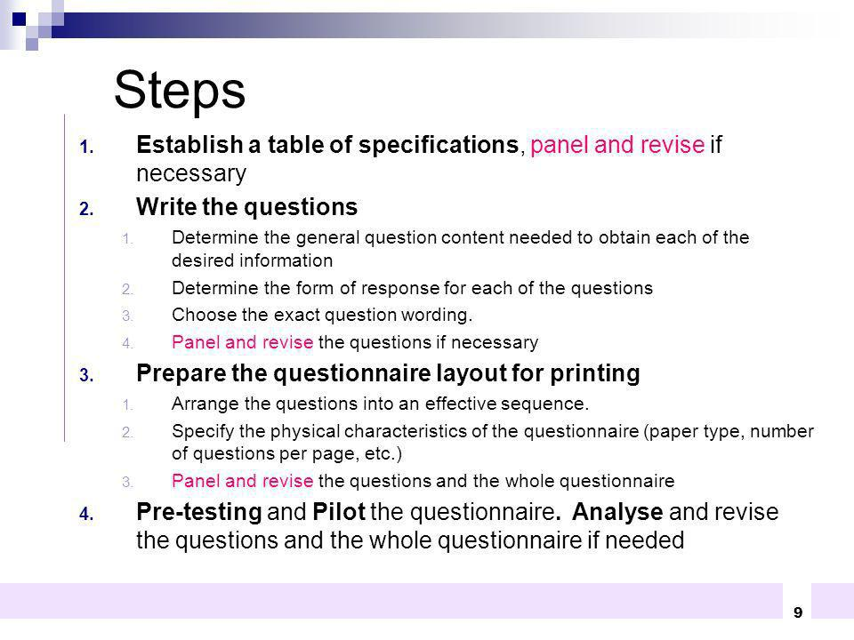 Steps Establish a table of specifications, panel and revise if necessary. Write the questions.