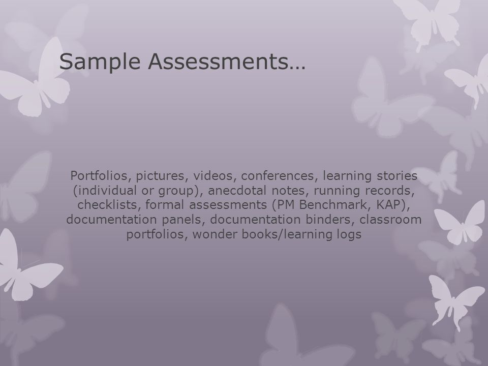 Sample Assessments…