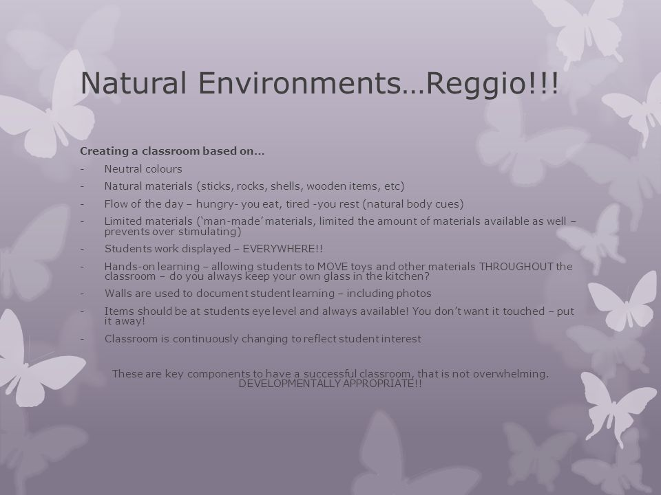 Natural Environments…Reggio!!!
