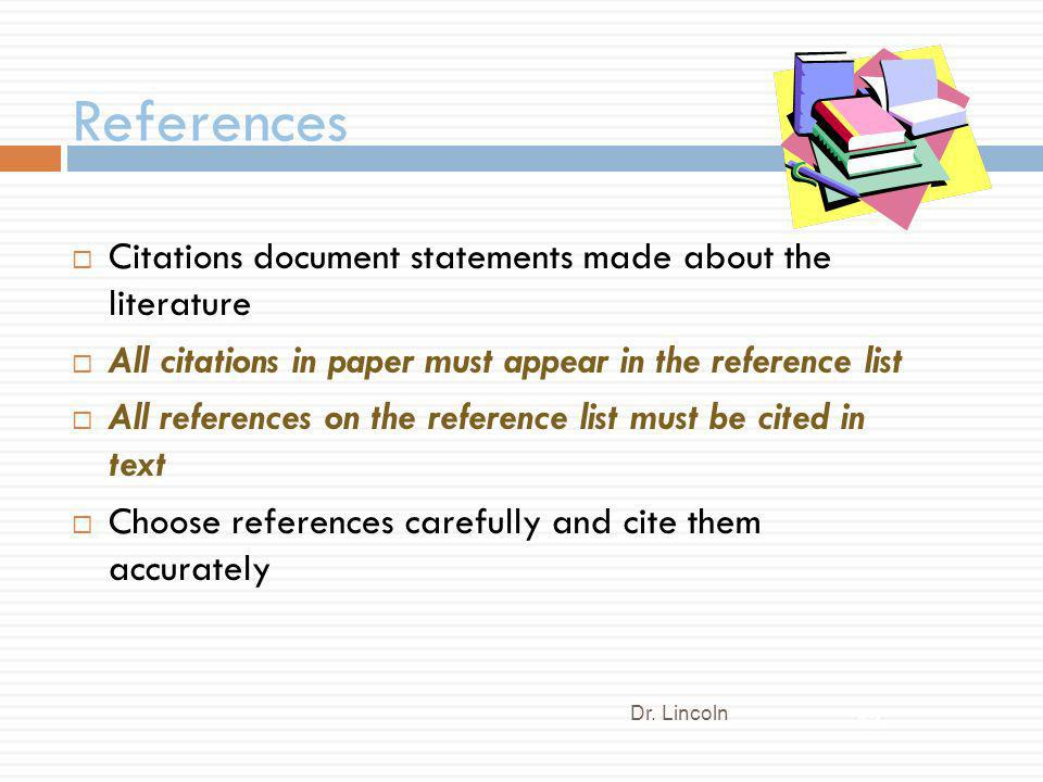 References Citations document statements made about the literature
