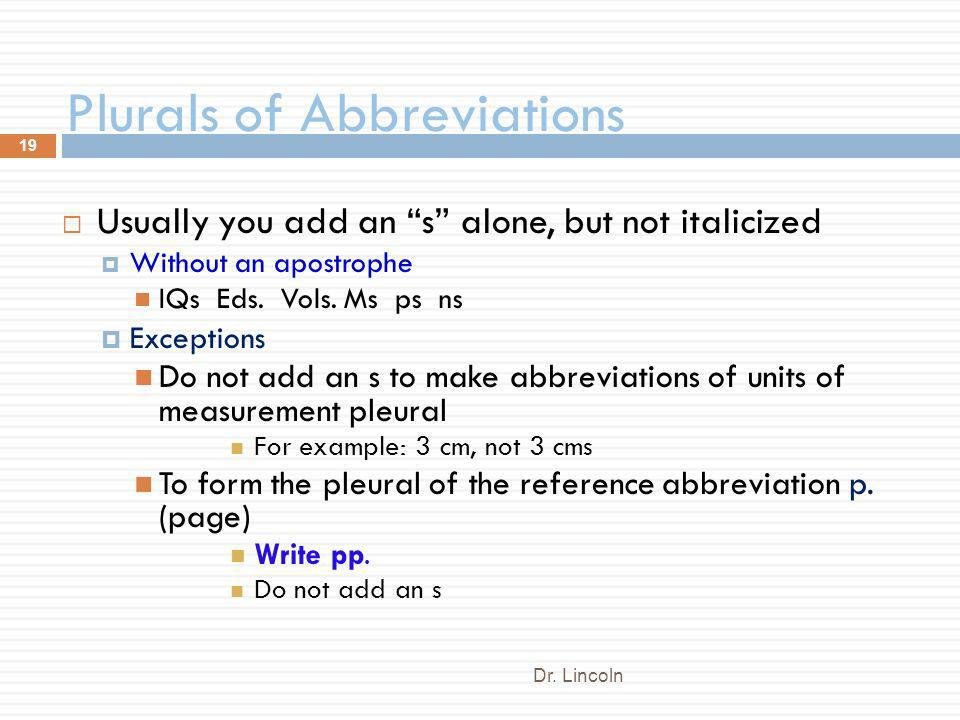 Plurals of Abbreviations