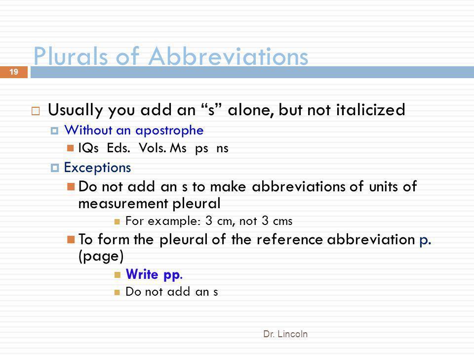 Plurals of Abbreviations