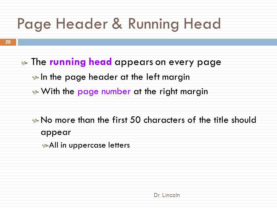Page Header & Running Head