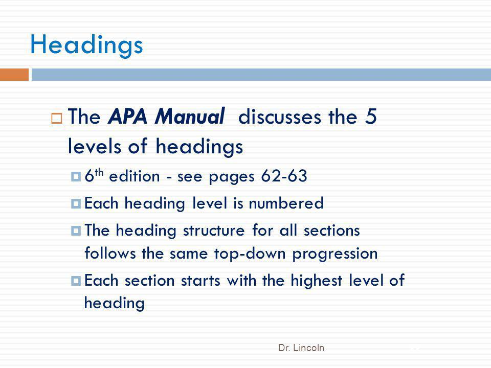Headings The APA Manual discusses the 5 levels of headings