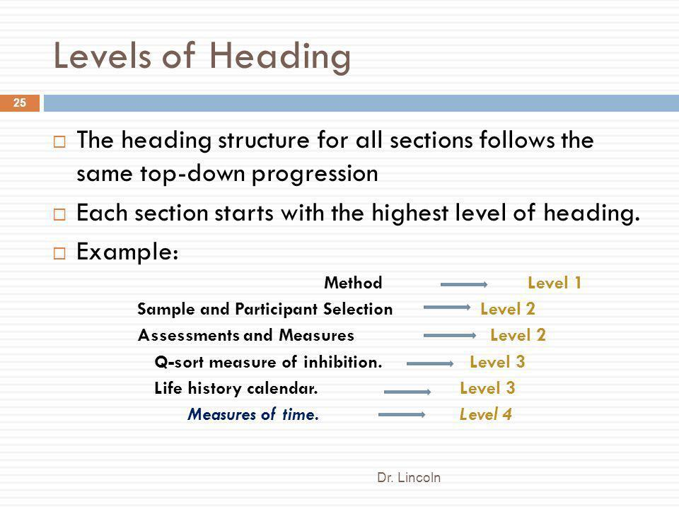 Levels of Heading The heading structure for all sections follows the same top-down progression.