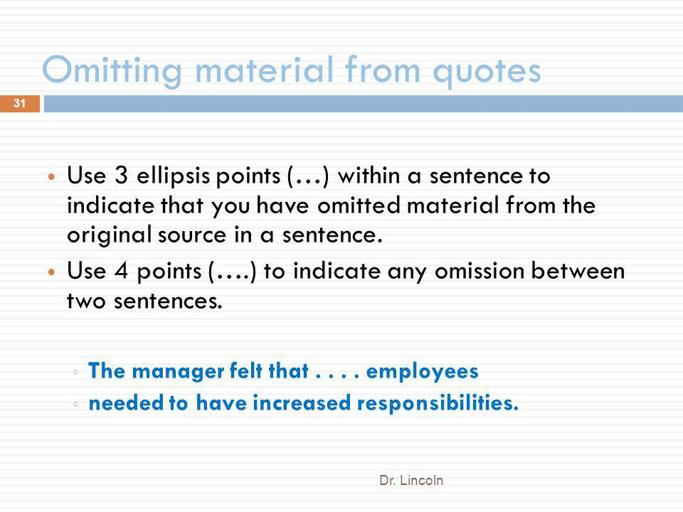 Omitting material from quotes