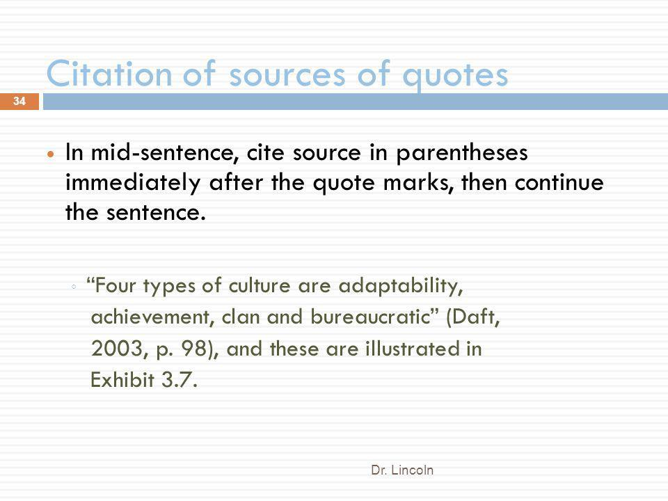 Citation of sources of quotes