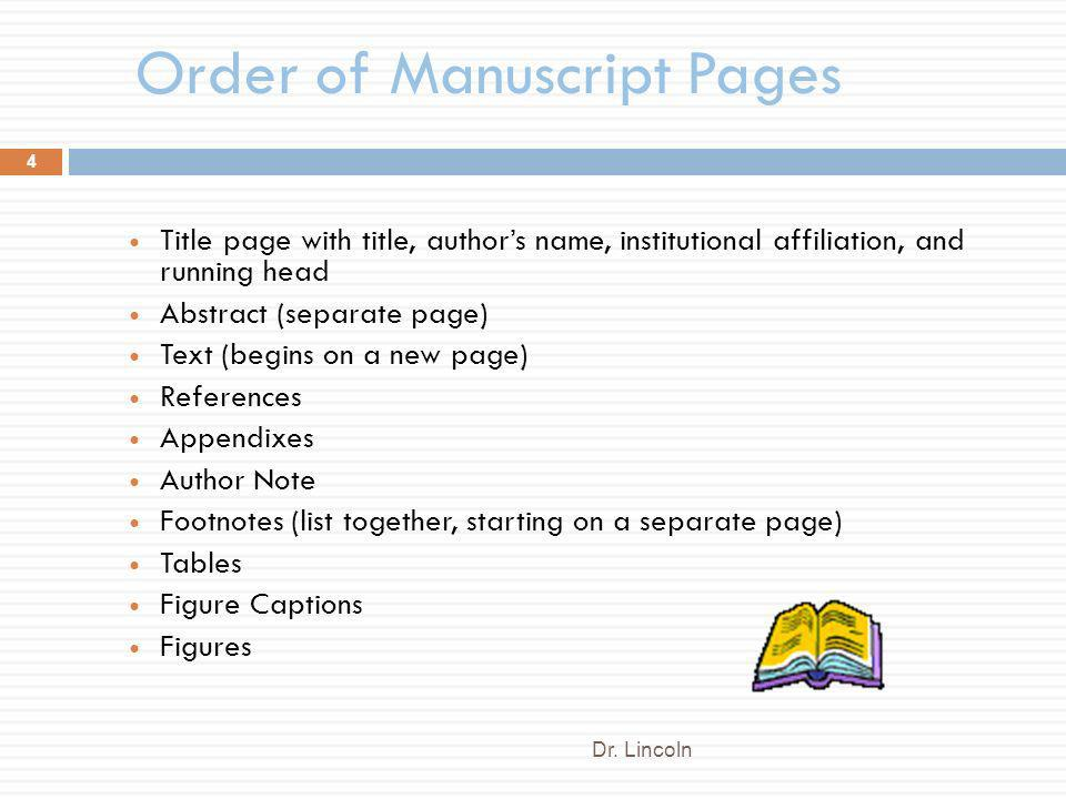 Order of Manuscript Pages