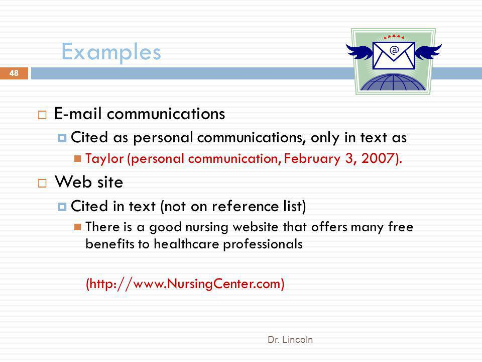 Examples E-mail communications Web site