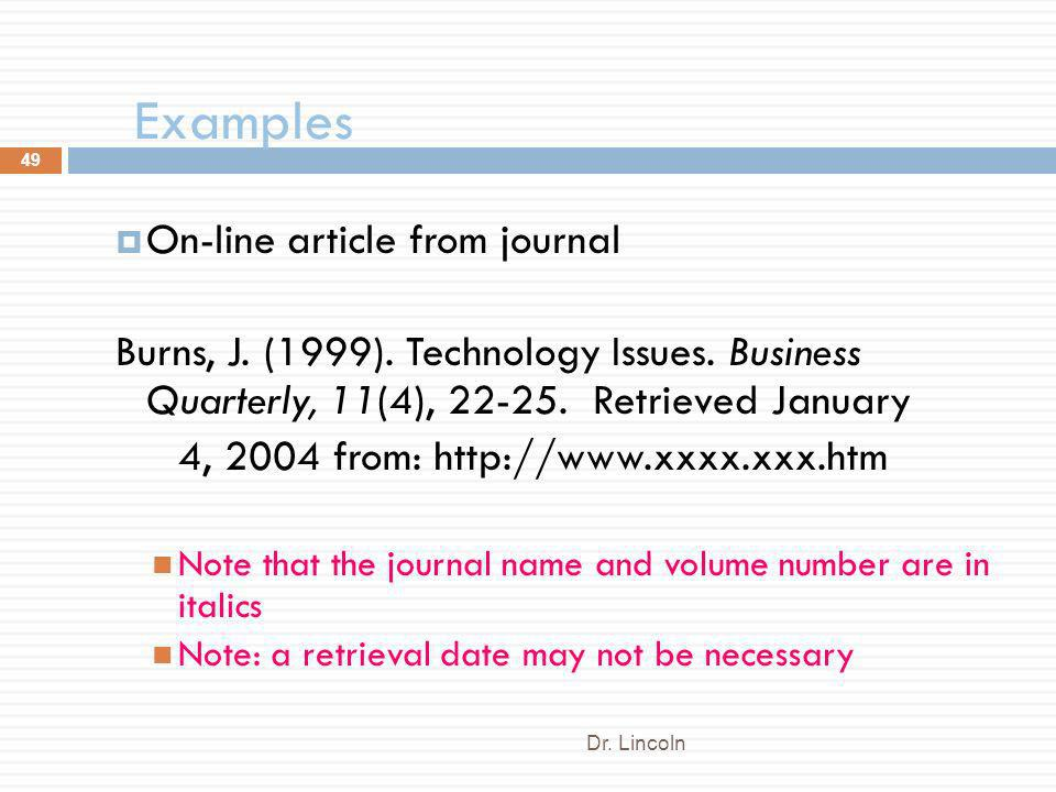 Examples On-line article from journal