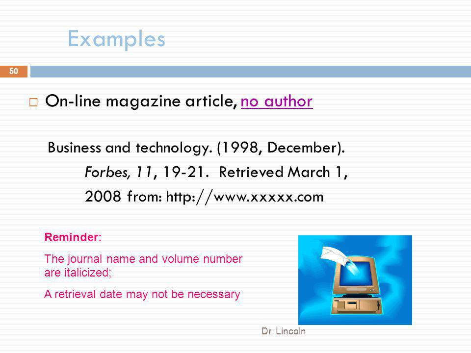 Examples On-line magazine article, no author