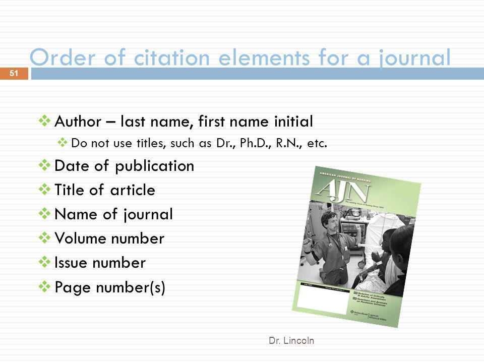 Order of citation elements for a journal