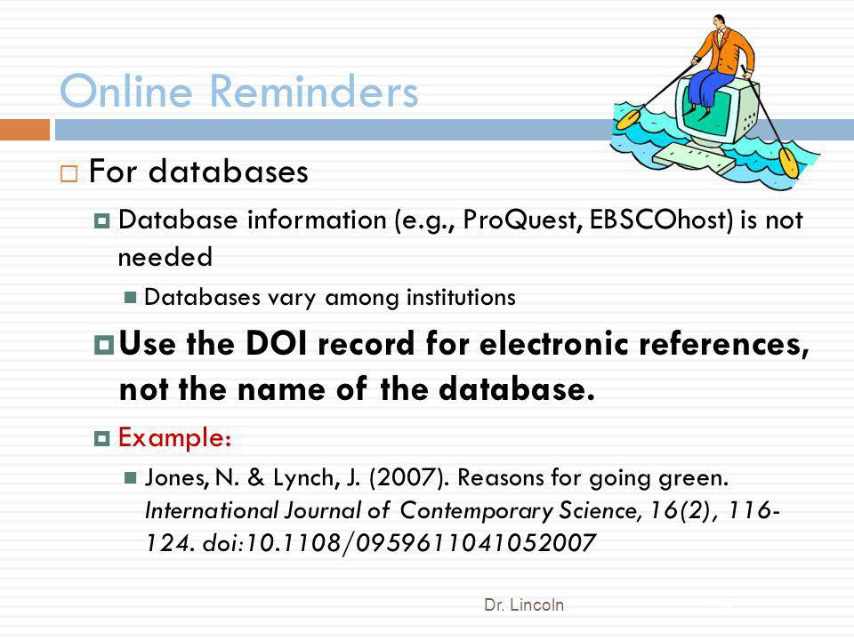 Online Reminders For databases