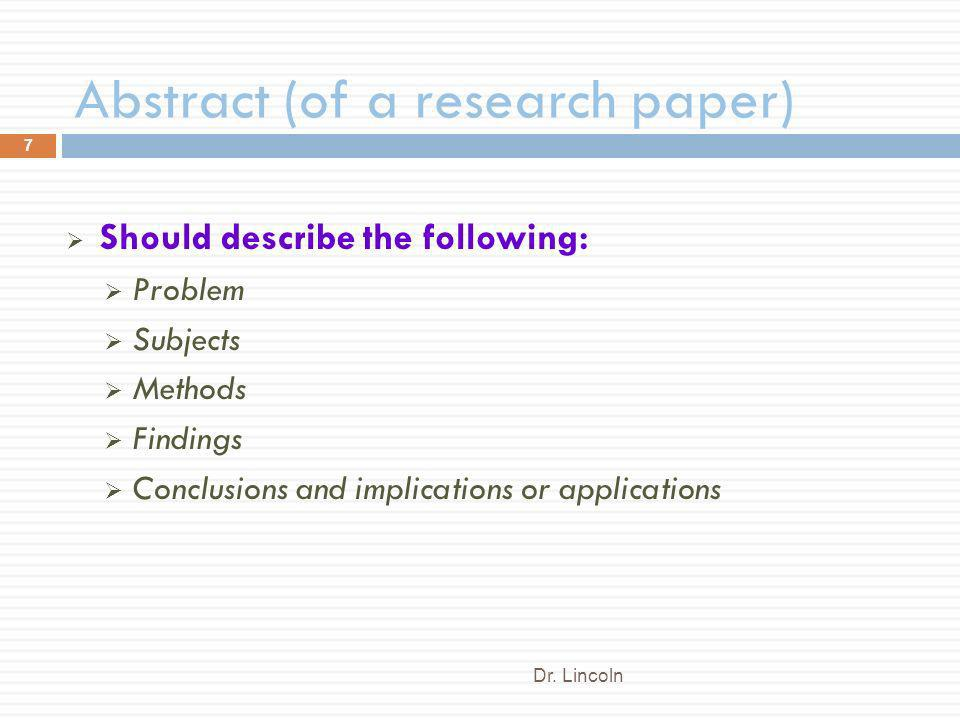 abstract history research paper 6 days ago an abstract summarizes, usually in one paragraph of 300 words or less, the major aspects of the entire paper in a prescribed sequence that includes: 1) the overall purpose of the study and the research problem(s) you investigated 2) the basic design of the study 3) major findings or trends found as a result.