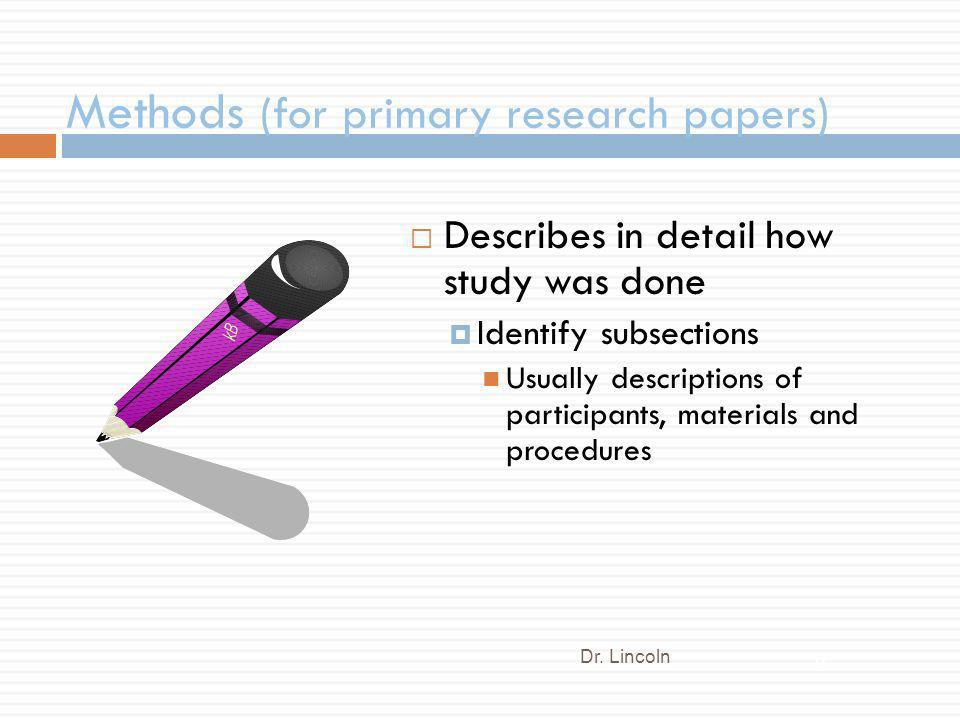 Methods (for primary research papers)