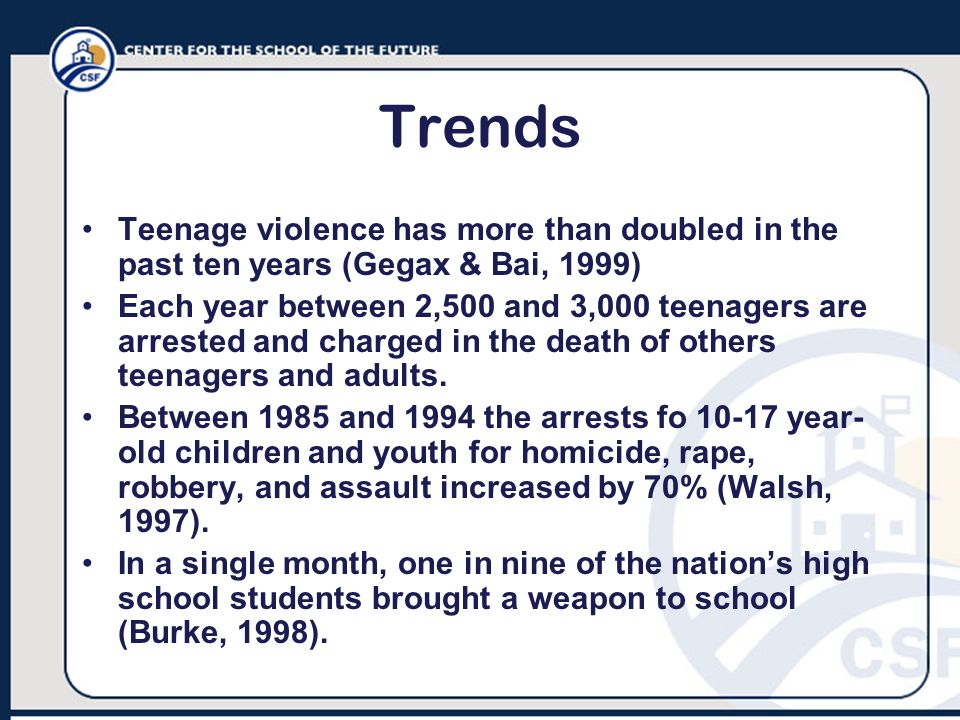Trends Teenage violence has more than doubled in the past ten years (Gegax & Bai, 1999)