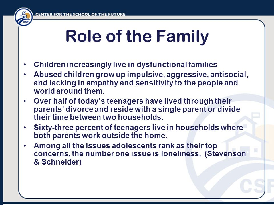 Role of the Family Children increasingly live in dysfunctional families.