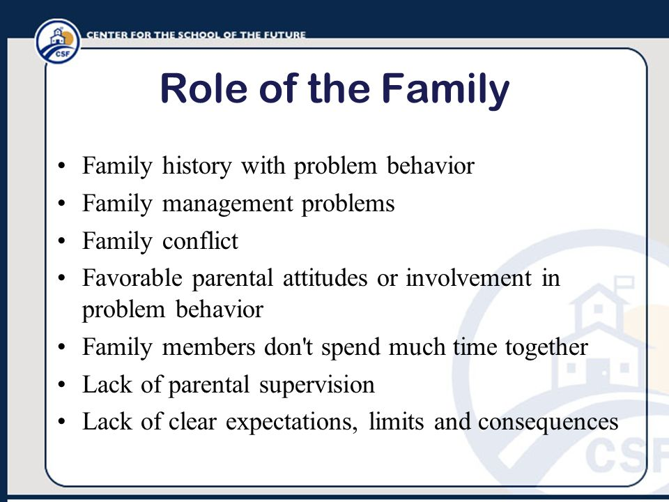 Role of the Family Family history with problem behavior