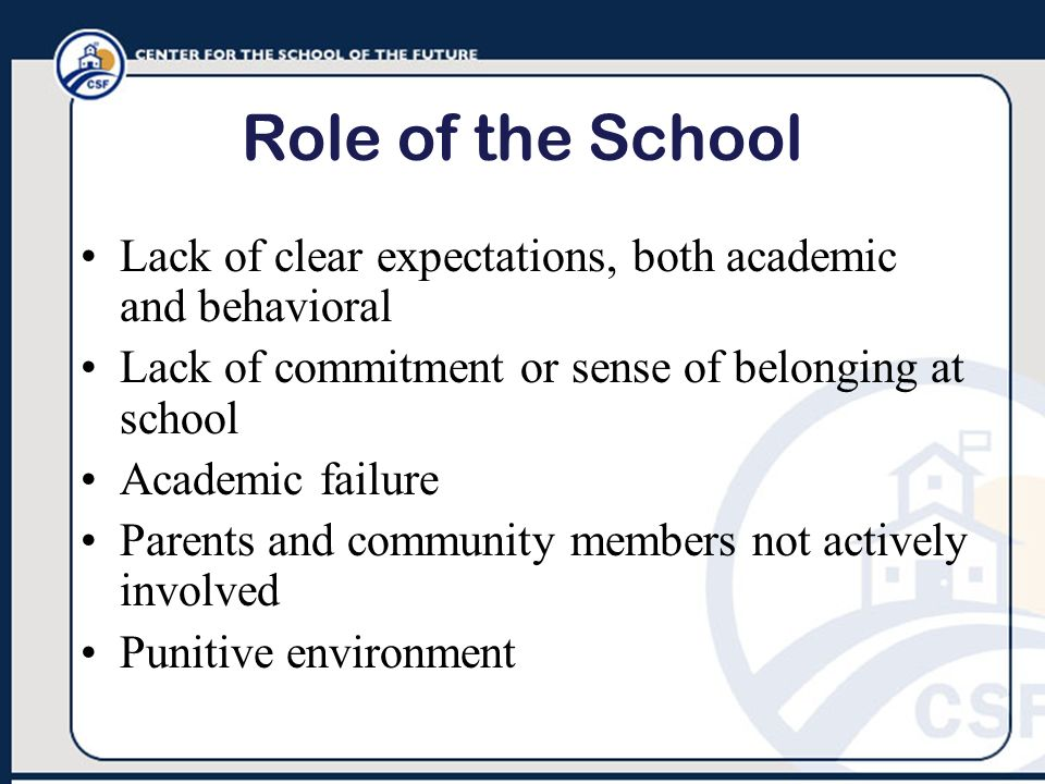 Role of the School Lack of clear expectations, both academic and behavioral. Lack of commitment or sense of belonging at school.