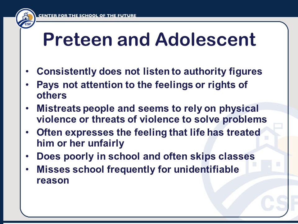 Preteen and Adolescent
