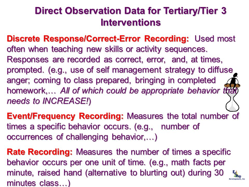 Direct Observation Data for Tertiary/Tier 3 Interventions