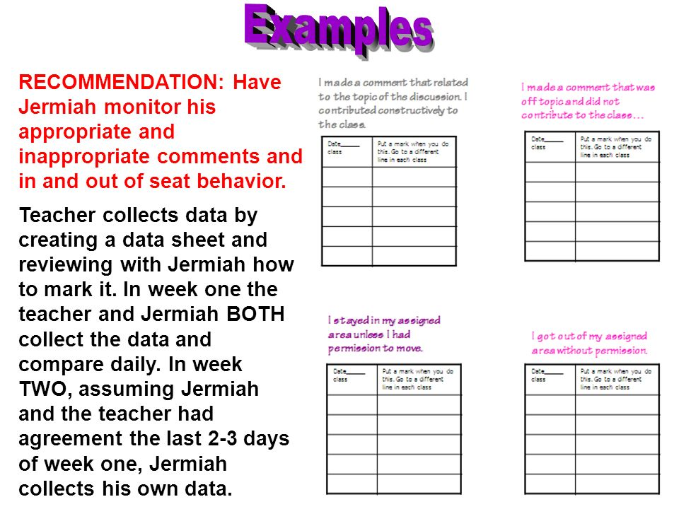 ExamplesRECOMMENDATION: Have Jermiah monitor his appropriate and inappropriate comments and in and out of seat behavior.