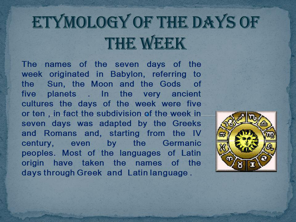 Etymology of the days of the week