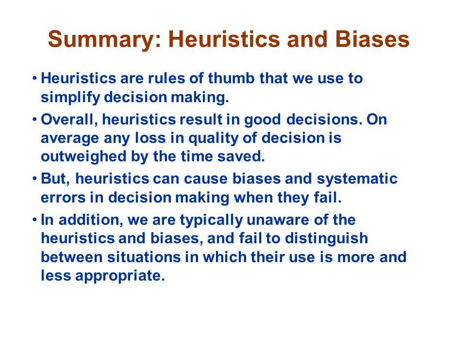 Summary: Heuristics and Biases