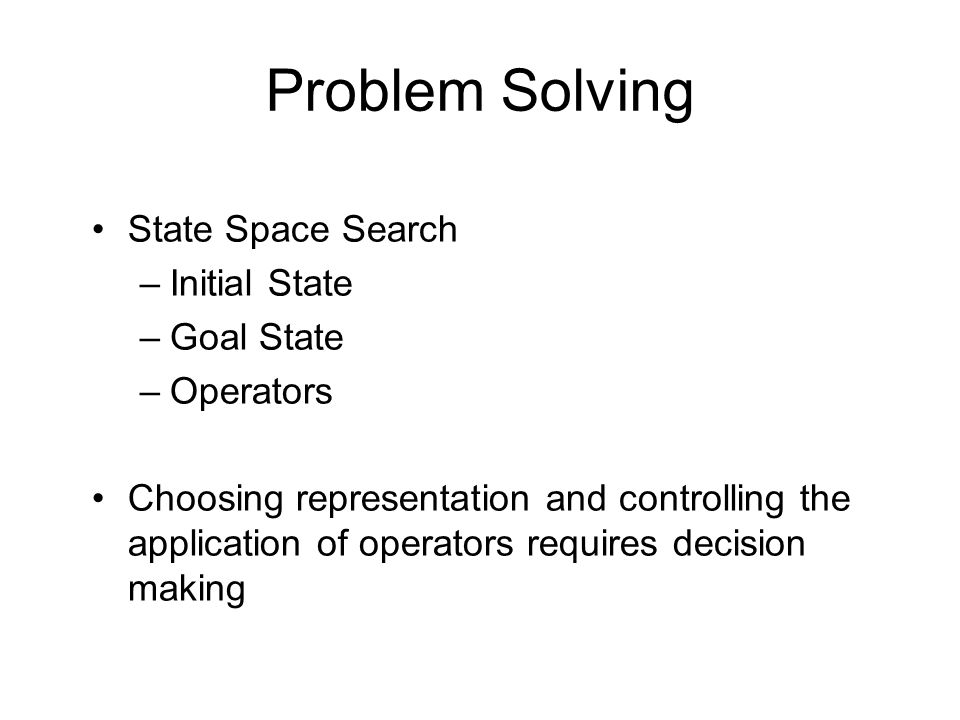 Problem Solving State Space Search Initial State Goal State Operators